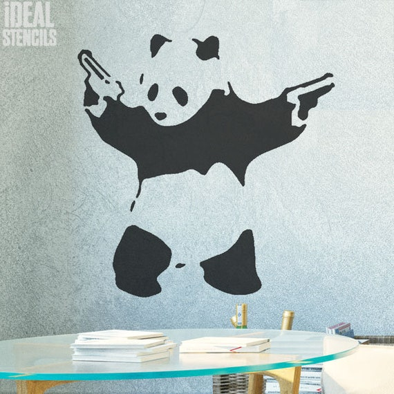 Superb Banksy Pandamonium STENCIL Panda Guns Wall ART Stencil