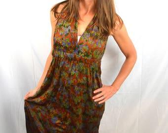 Fun 1970s 70s Floral Halter Dress by Juli