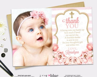 Blush Pink & Gold Glitter Thank You Card - Girl Floral Baptism Thank You Card  Peony Baptism Thank you note - First Communion - Christening