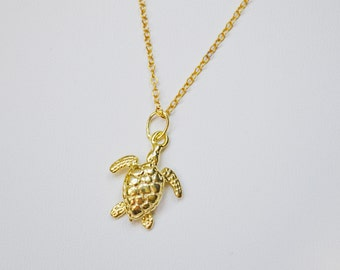 Gold turtle necklace etsy gold sea turtle necklace sea turtle charm necklace gold turtle pendant sea turtle aloadofball Choice Image