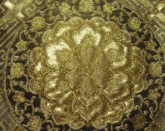 135: Japanese vintage kimono obi sash chemical fiber gorgeous embroidery flower gold black