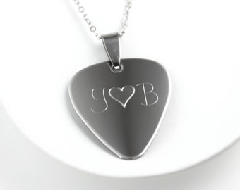 Personalized Guitar Pick - Guitar Pick - Guitar Pick Necklace - Mens Necklace - Stainless Steel - Engraved Guitar Pick - Guitarist Gift