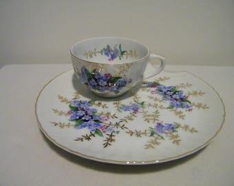 Vintage Japan Porcelain Forget Me Knot Tea Cup and Snack Plate Set