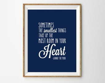 Winnie The Pooh Print - Print for a Baby Boy's Nursery - Navy Blue and White Wall art - Instant Download Wall Art - Print at Home