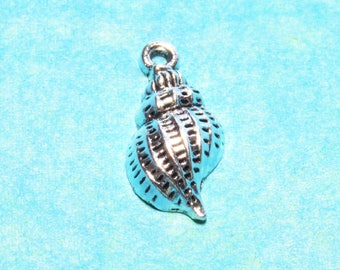 Seashell Silver Charms, Silver Shell Charms, Nautical Charms, Conch Shell Charms, Jewelry Making Supplies, Craft Supplies