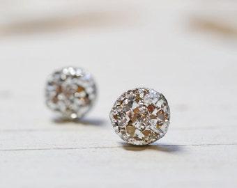 Tiny Silver Druzy Earrings, 8mm Round Druzy Earrings, Metallic Glitter Faux Drusy Posts Glittering Bright Shiny Silver Stainless Steel Studs