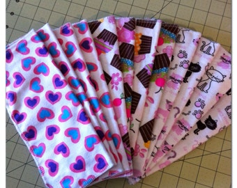 12 pack of flannel baby wipes - girly pack