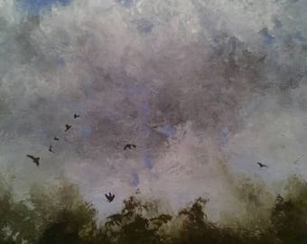 ORIGINAL acrylic painting of an impressionist landscape with flying birds. 7x5 mount mounted British wall art small daily painting unusual