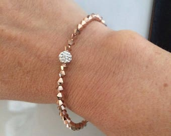 Rose Gold Swarovski crystal bracelet Gold stretch bracelet Rose gold bracelet 4mm tiny bead bracelet BEADED Rose Gold Swarovski jewellery