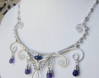 Persephone Rising - Ornate Wirework Collarpiece - Amethyst Variant