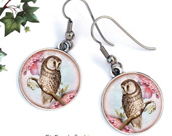 Ear jackets cabochons, the Ural owl, surgical steel hooks, ref.230