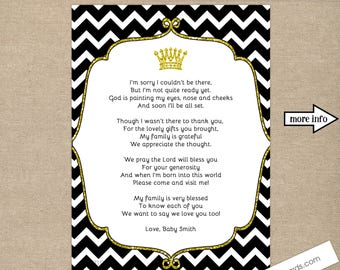 Crown Baby Shower Thank you notes with poem, any size, any wording, COLOR CHANGE AVAILABLE