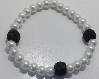White and Black Diffuser Bracelet