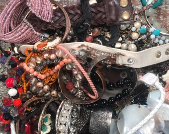4.10 lbs Lil Bit o Everything Vintage, Mod & Modern Crafting Re Purpose Harvest Jewelry Lot Rhinestones Turquoise Pearls Beads Bracelets
