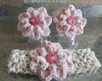 Barefoot Baby Sandals and Flower Headband Pink and Cream  0-6 months