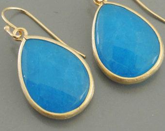 Gold Earrings - Blue Earrings - Stone Earrings - Dangle Earrings - Handmade Jewelry