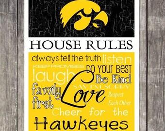 Iowa Hawkeyes House Rules 4x4.1/2 Magnet
