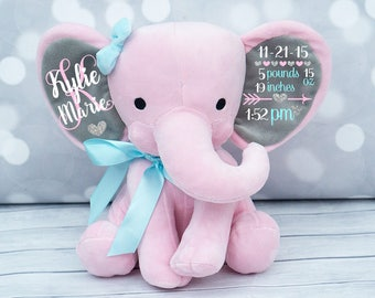 Baby Girls Birth Stat Elephant,  Keepsake Elephant, Birth Announcement Elephant, Monogrammed Elephant, Newborn Gift, Personalized Elephant