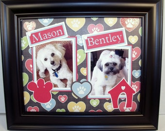 Personalized Two Dogs Unframed Photo Mat -  Heart Paw Prints - Cat Version Available Too