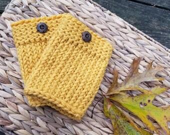 Hand Knit Mustard Yellow Boot Cuffs