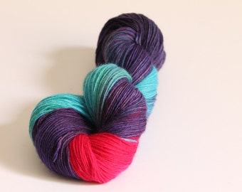The Arcateenian - Torchwood - Doctor Who - Hand Dyed Yarn -   4ply sock yarn to Worsted weight -  Torchwood -  Wool - Purple Turquoise