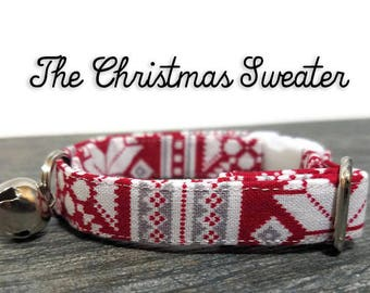 Christmas Cat Collar, Holiday Cat Collar, Ugly Sweater Party, Kitten Collar, Kitty Collar, Breakaway Collar, Red Christmas Collar for Cats