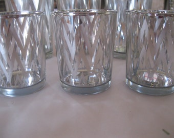 3- 2.5 inch Tall CEVRON silver Votive Candle holders, Wedding, Vintage inspired, Bridal Shower