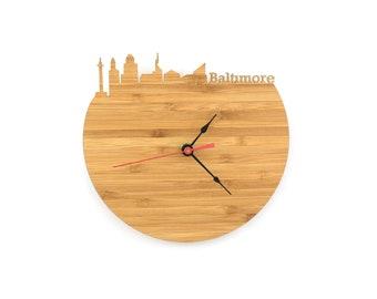 Baltimore Modern Clock - City Skyline Wall Clock - Maryland