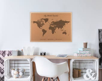 Cork board map etsy more colors world map cork board gumiabroncs Gallery