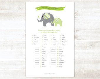 gender neutral baby shower game printable green elephant matching game who's my mommy baby shower digital games - INSTANT DOWNLOAD