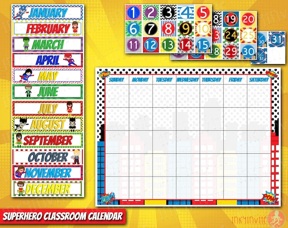 Diy Calendar For Kindergarten : Superhero classroom calendar pre school