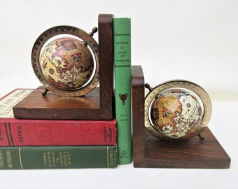 Vintage Old World Bookends | Globe Bookends | Wood Globe Book Ends | Spinning Globes