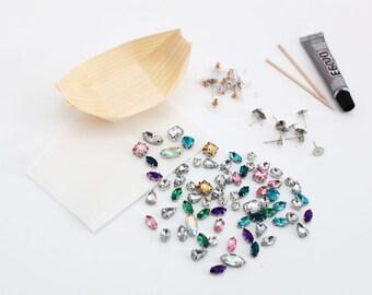 Gemstone Cluster Earrings Craft Kit - 5 Pairs Per Person - FREE shipping - DIY kit - DIY jewelry kit - Gemstone earrings - Bridesmaid Gifts