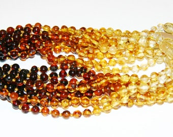 Lot Wholesale of 10 Baltic amber teething necklaces, rainbow round beads