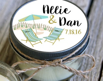 12 - 4 oz Wedding Favor//Umbrella Beach Wedding Favor//Soy Candle Favor//Personalized Bridal Shower Favor//Destination Favors//