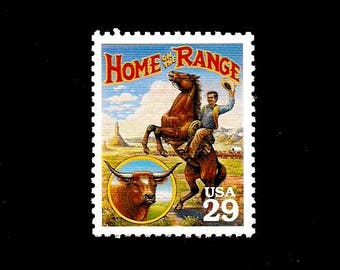 5 Home on the Range -Free Shipping- Pack of (5) Vintage - Home on the Range - Unused U.S. Postage Stamps - Post Office Fresh!