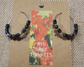 Hematite & .925 Sterling Silver Hoop Earrings