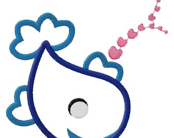 Smiling Whale Applique Embroidery Design