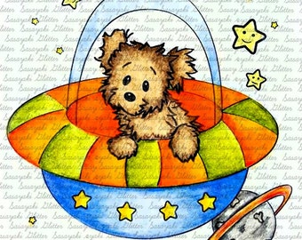 Image #9 - Space Puppy  - Digital stamp by Sasayaki Glitter - Naz - Line art only - Black and white