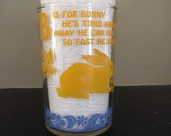 Vintage Nursery Rhymes Glass, B-is for Bunny