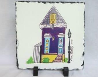 New Orleans House - French Quarter House - New Orleans Art - Original Art on Slate - New Orleans Gift - New Home Gift - Wedding Gift