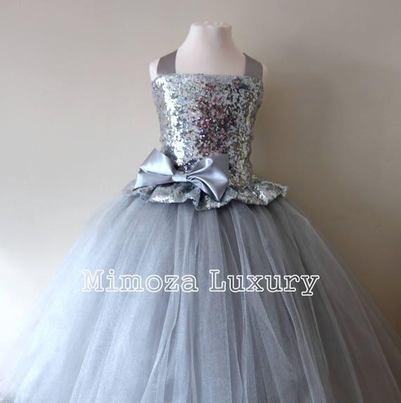 Silver Sequin Flower Girl Dress, silver sequin bridesmaid dress, flower girl gown, bespoke girls dress, tulle princess dress, silver dress