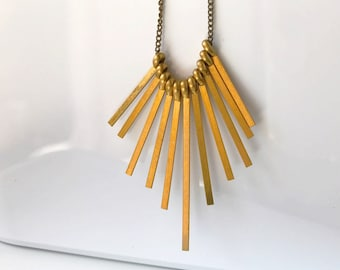 Art Deco Fan Necklace, Brass Fringe Necklace, Minimalist Architecture Jewelry
