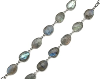 Long labradorite sterling silver necklace