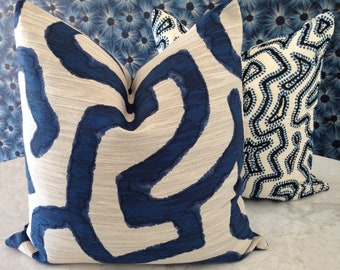 Blue and White Graphic Pillow