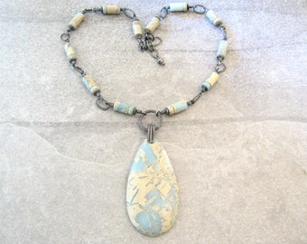 stone and sterling silver necklace, aqua terra jasper necklace, boho pendant necklace, rustic blue stone pendant, statement necklace