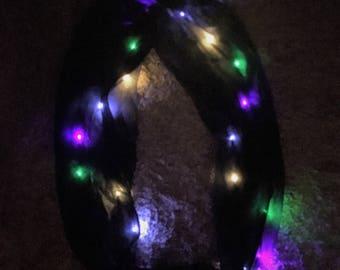 Black LED Infinity Scarf with multi colored lights