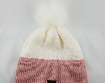 Two-tone Knit Hat with Removable Pom Pom