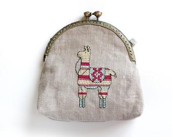 Llama Kiss Lock Coin Purse, Llama Gift, Llama Metal Frame Coin Purse, Coin Purse with Embroidered Lama, Lama Coin Purse, Llama lover gift