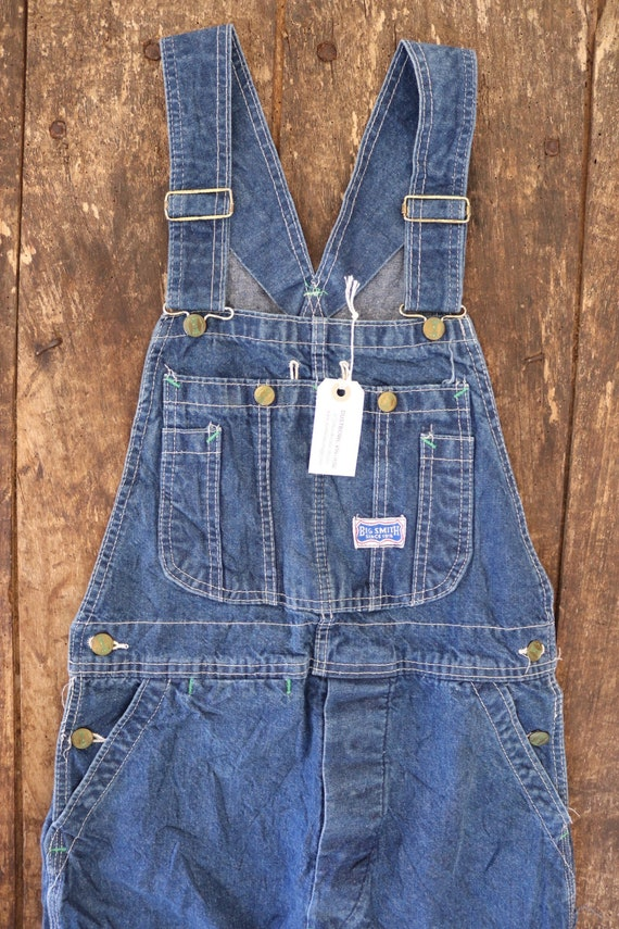 "Vintage Big Smith indigo blue denim overalls dungarees 30"" x 30"" workwear chore"